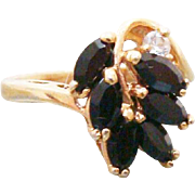 Elegant Black Onyx Cocktail Ring 10 Kt Gold Filled