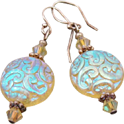 Dazzling Iridescent Art Glass & Crystal Bead Earrings