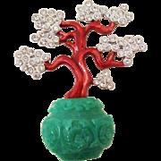 Delightful Enamel Bonsai Tree Pin by Kenneth Jay Lane ~ K.J.L.