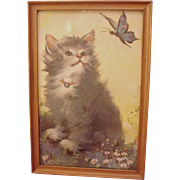 Adorable Vintage Framed Kitten and Butterfly Print