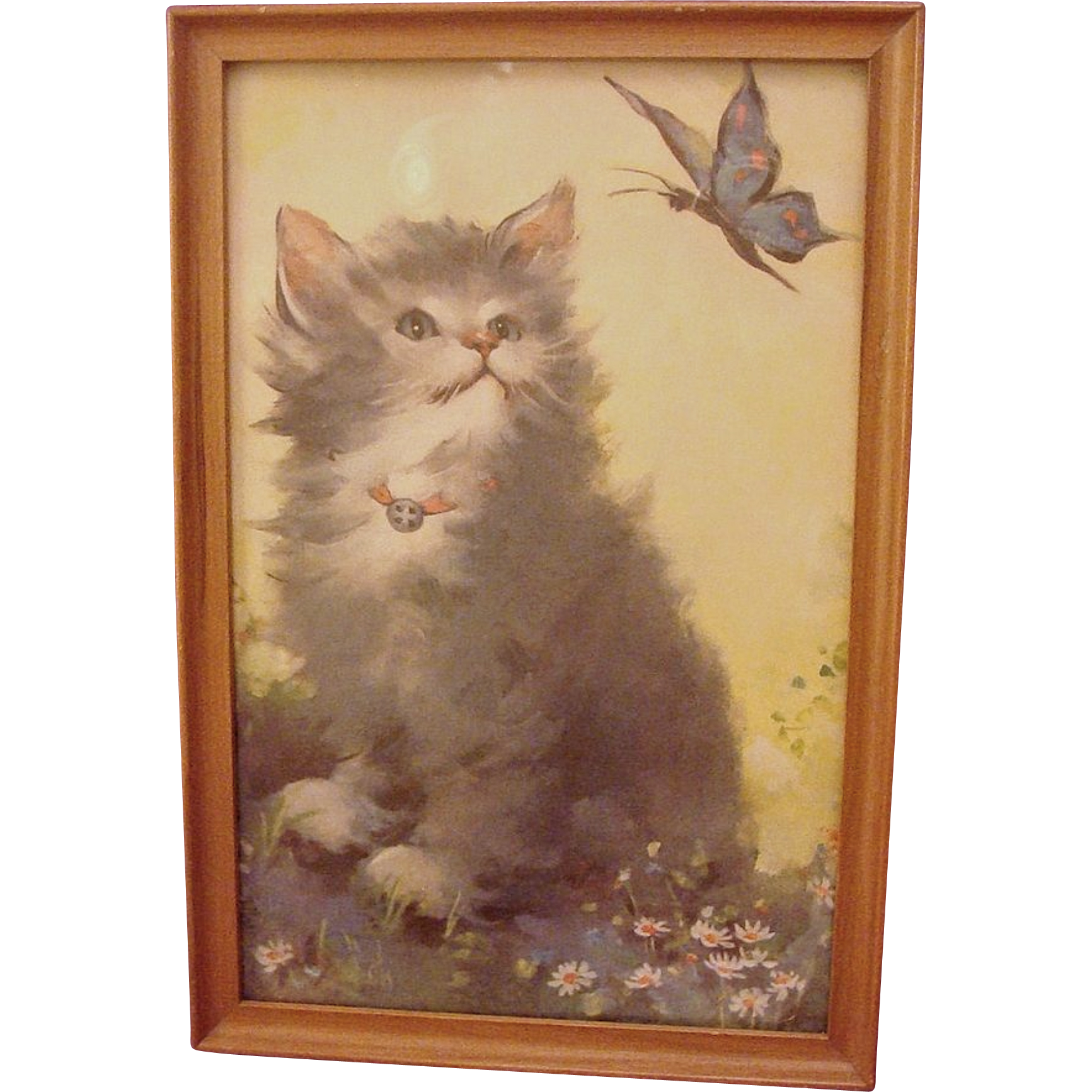 Adorable Vintage Framed Kitten and Butterfly Print by Florence Kroger