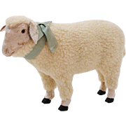 Delightful Realistic Plush Lamb Sheep Display Figurine w/ Ribbon
