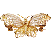 Delicate & Ornate Fluttering Filigree Butterfly Pin in Sterling Silver with Gold Overlay