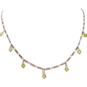 Delightful Italian Sterling Silver Figaro Chain Necklace with Dangling or Dripping Cut Green Crystals
