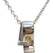 Floating Citrine in Sterling Silver Chunky Modernist Design