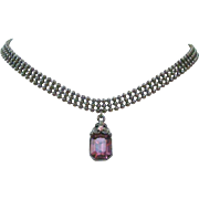 Gothic Victorian Revival Style 1928 Brand Choker with Purple Cut Glass Drop Pendant
