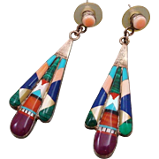 One of a Kind Native American Zuni Earrings Statement Sterling Silver Multi-gem Multi-color Inlaid Gem Stone Long Drop Dangle