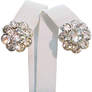 Mint Bogoff Signed Clear Sparkling Brilliant Rhinestone Earrings