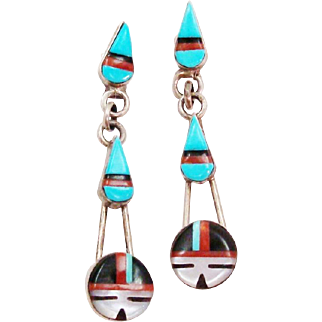 Stunning Native American Zuni Sun Face & Rain Drops Inlaid Stone Work Sterling Silver Dangle Earrings
