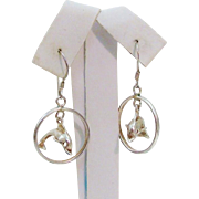 Frolicking Leaping Articulated Sterling Silver Dolphin Charms Moving in Hoops Earrings