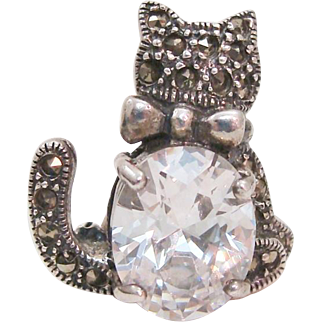 Whimsical Kitty Cat Pin of Sterling Silver with Marcasites and Clear Cut Crystal
