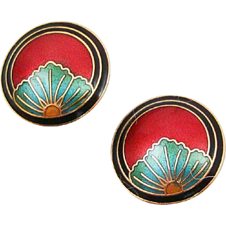 Vintage Cloisonne Enamel Earrings with Water Lily Flowers within Metallic Maroon Background
