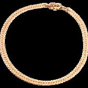 "14K Solid Yellow Gold Herringbone Chain 7"" Bracelet 3.18 Grams"