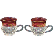 50% OFF Vintage Tiffin King's Crown Pattern Double Flashed Ruby Open Sugar & Creamer Set