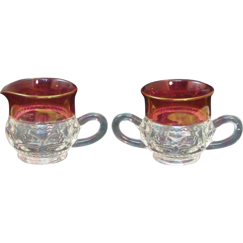 Vintage Tiffin King's Crown Pattern Double Flashed Ruby Open Sugar & Creamer Set