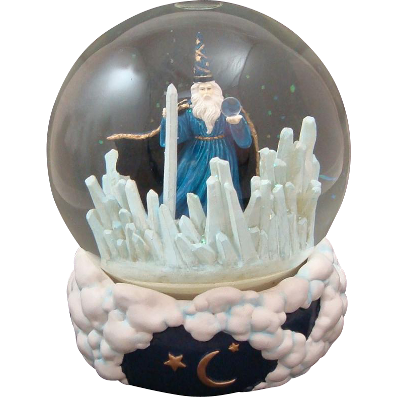 Mystical Wizard Music Snow Globe 1992 Crystal Visions by Majorie Sarnat  San Francisco Music Box Company