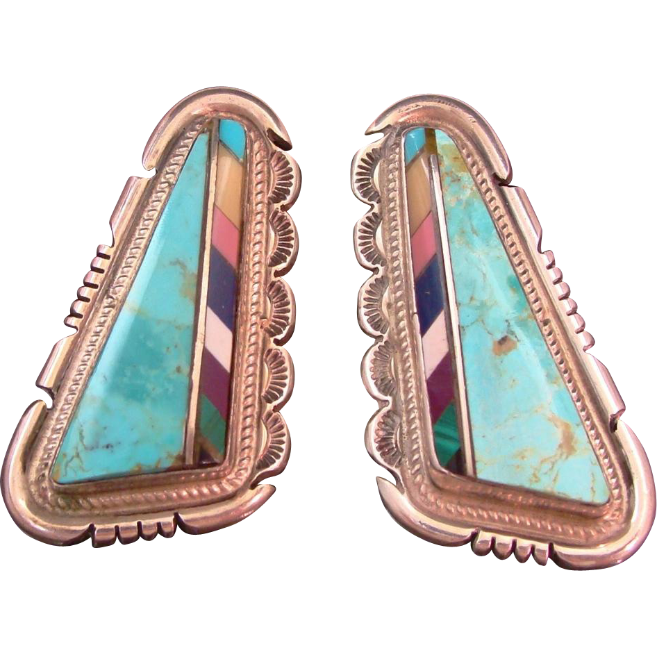 Stunning Jon McCray Native American Navajo Sterling Silver Multi-Gem Stone Multi-Color Hand Made Inlaid Earrings