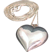 "Huge 1 3/4"" Italian Sterling Silver Puffy Heart Pendant & 30"" Box Link Chain Necklace"