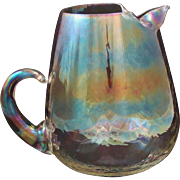 West Virginia Glass Specialty Iridescent Luster Pitcher Optic Loop Mid-Century Modern
