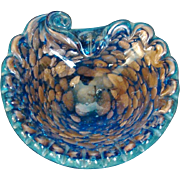 Mid-Century Murano Italian Bullicanti Scalloped Edges on Shell Shaped Blue Art Glass with Copper Aventurine