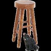 Dark Oak Hand Made Dollhouse Stool Furniture