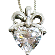 4 Carat Cubic Zirconia Heart Pendant In Sterling Silver Ribbon & Bow Setting on Box Link Chain Necklace