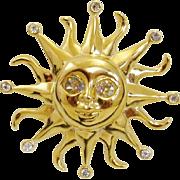 Kenneth Jay Lane Sun Burst with Rhinestone Moving Eyes
