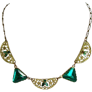 Incredible Art Deco Egyptian Revival Brass, Enamel & Glass Necklace