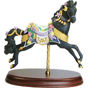 50% OFF Retired The Carousel Midnight Charger Bisque Porcelain Horse by Lenox