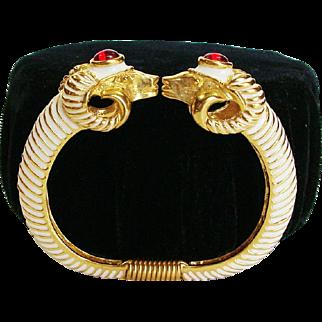 Kenneth Jay Lane ~ K.J.L. Enamel Rams Head Clamper Bracelet