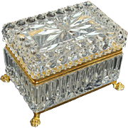 Clear Crystal French Jewelry Casket ~ Box with Hinged Lid and Claw Feet