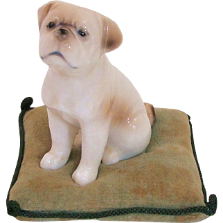Adorable Porcelain Pug Dog on Pillow