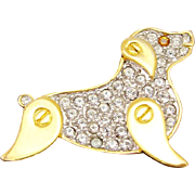 Monet Signed Pavé Dog Pin