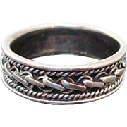 Ornate Sterling Silver Hand Chased Band
