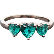 Sterling Silver Heart Shaped Green Garnet Ring