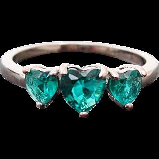 Sterling Silver Heart Shaped Green Garnet Ring