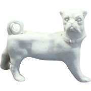 Victorian White Porcelain Bisque Pug Dog