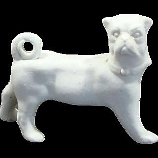 Victorian White Porcelain Bisque Pug Dog