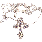 Sterling Silver Ornate Double Sided Cross Necklace Macasites ~ Peridot