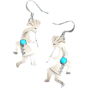 Native American Sterling Silver & Turquoise Kokopelli Earrings