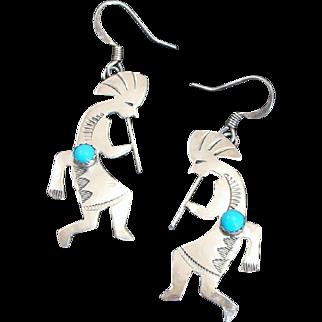 Native American Sterling Silver & Turquoise Kokopelli Earrings