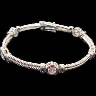 Sterling Silver & Bezel Set Faux Diamonds in Rigid Rope Link Bracelet