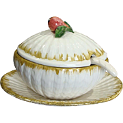 Italian Gravy Soup Tureen Four Piece Set with Fig Handle
