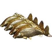 Hollywood Regency Mid-Century Modern Italian 24K Gold Plated Fish Napkin Holders Set