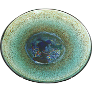 Kosta Boda Bertil Vallien Meteor Art Glass Footed Bowl ~ Charger ~ Platter 79321 Signed & Numbered Studio Glass