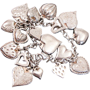 Loaded Sterling Silver Puffy Heart Charm Bracelet