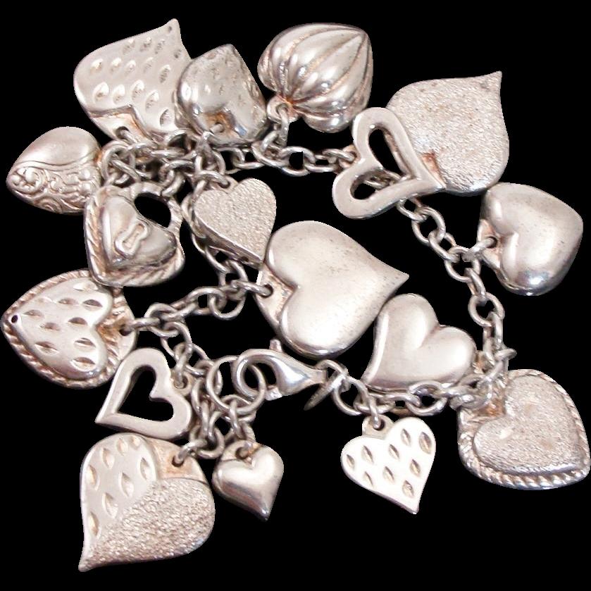 Loaded Sterling Silver Puffy Heart Charm Bracelet