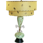 Mid-Century Modern Mint Green and Gold Lamp and  Original Two Tiered Shade