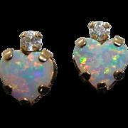 Opal Hearts & Cubic Zirconia in 10K Gold Stud Earrings