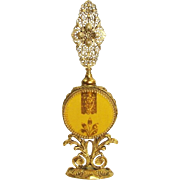 Gold Gilt Ormolu Floral Filigree & Beveled Amber Glass Perfume ~ Scent Bottle